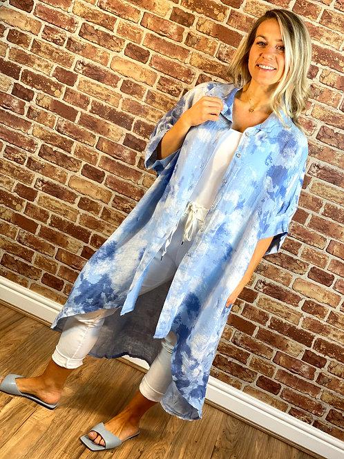 Linen Paint Shirt Dress