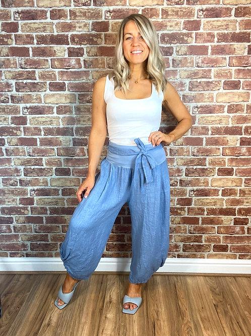 Italian Linen Crop Trousers