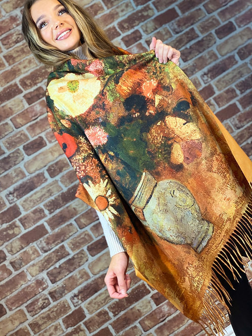 Cashmere Oil Painting Scarf- Design 1