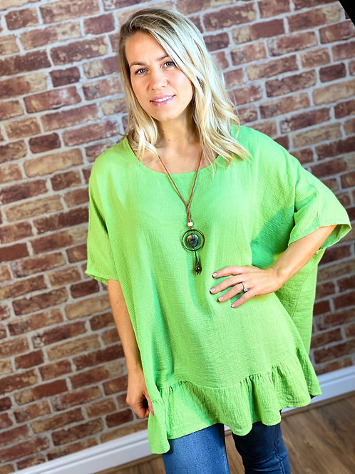 Cotton Weave Top with Necklace