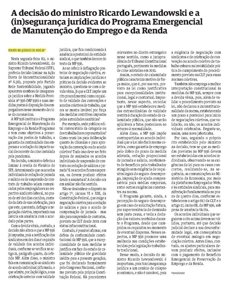 A decisão do Ministro Ricardo Lewandowsk