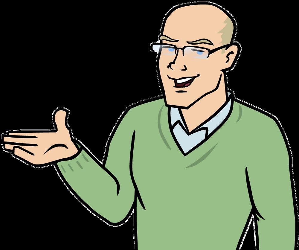 Cartoon consultant smiling
