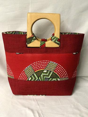 Vena Red Mixed Print Handbag