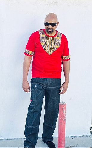 Unisex Red Dashiki T-Shirt