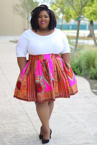 Dora Pink Midi Skirt