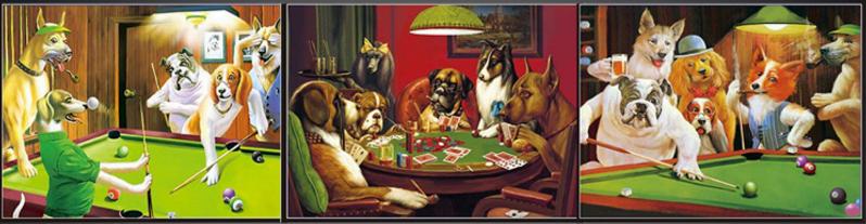 3D Flip Poker Dogs 3D lenticular poster