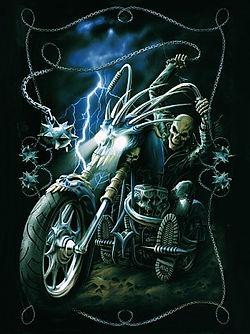 Skull Bike 3D lenticular poster wall art