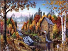 Cabin w_ Water Mill 3D Lenticular Poster