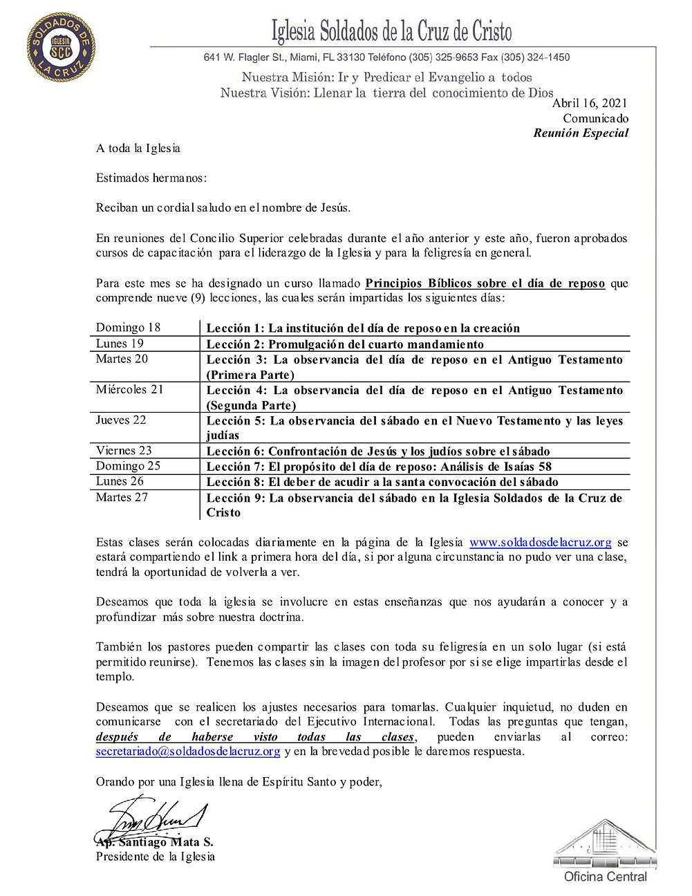 Comunicado Especial - Invitación Curso P