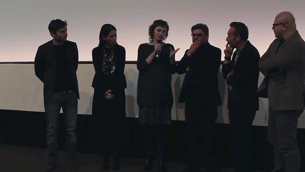 """Marì Alberione presenta """"Lo scambio"""" al 33º TFF con il regista Salvo Cuccia e gli attori Filippo Luna, Paolo Briguglia, Barbara Tabita e Vicenzo Pirrotta."""