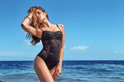 Элегантный слитный купальник серебристого черного цвета AMAREA 2018 Италия интернет магазин купальников Сочи Адлер Москва