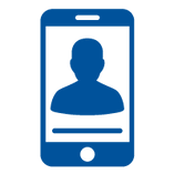 Icon of a face on a mobile device screen