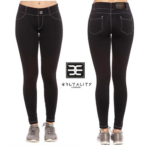 White Stitch Black Legging Jeans  Supplex