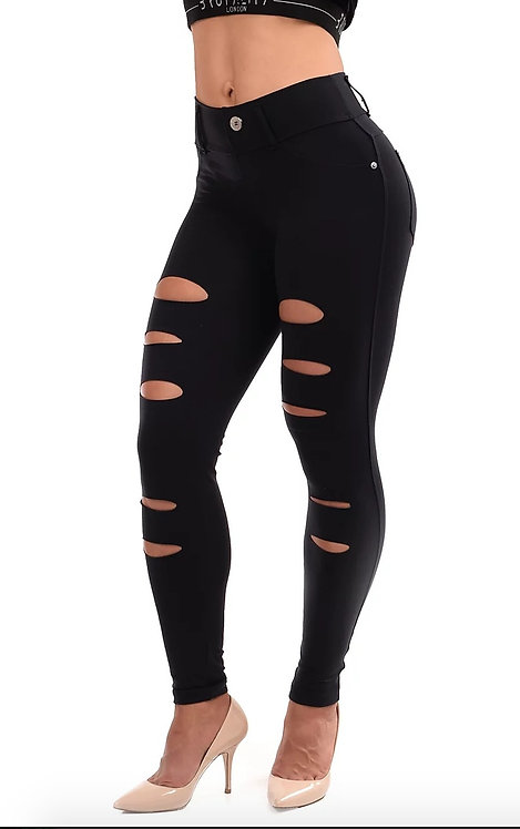 Skinny Cutouts Fit Black Jeans