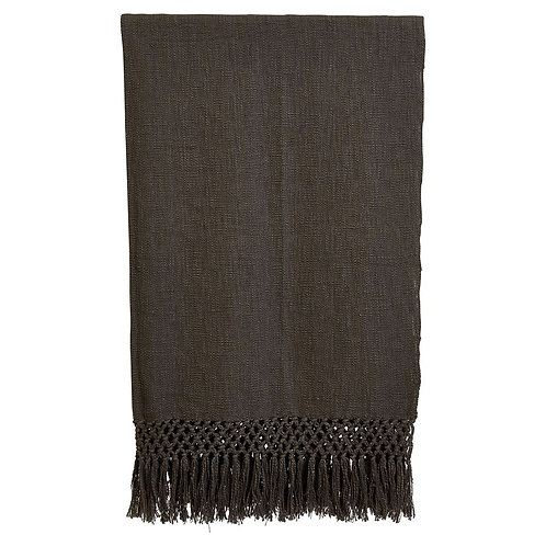 Crochet + Fringe Throw (Charcoal)