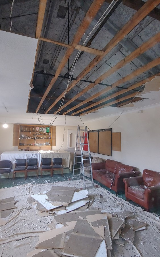 Club ceiling removal