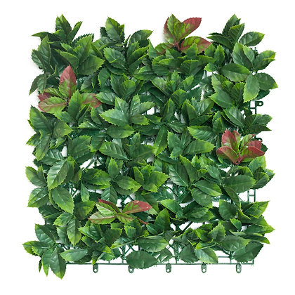 Red Photinia Artificial Hedge Tile 50cm x 50cm