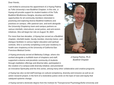 Announcement: New Partnership at Tufts University Chaplaincy