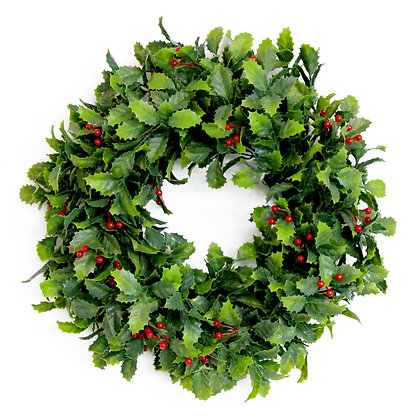 Holly and Berries Xmas Wreath 30cm