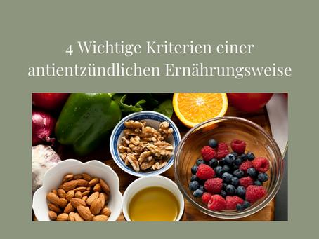 4 wichtige Kriterien für eine antientzündliche Ernährungsweise