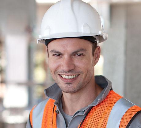 Worker with White Helmet
