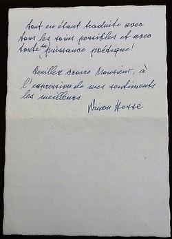 Letter from Ninon Hesse, verso