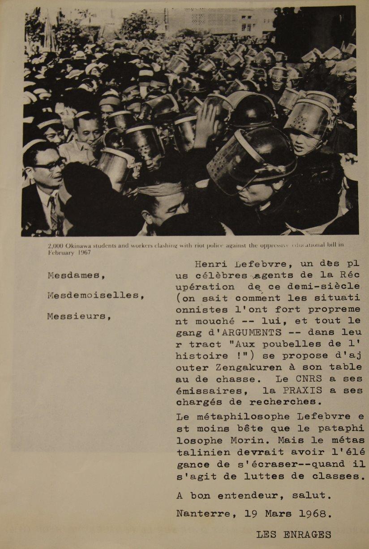 """Tract """"Les enrages de Nanterre"""""""