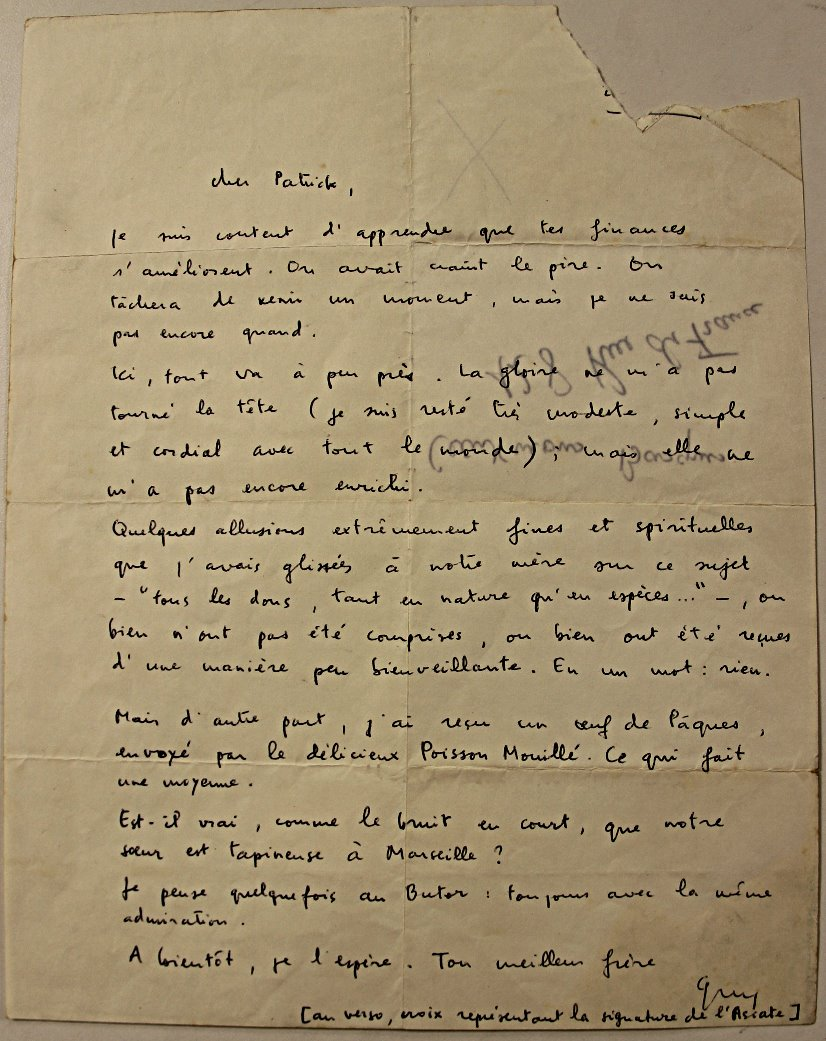 Letter to his brother Patrick