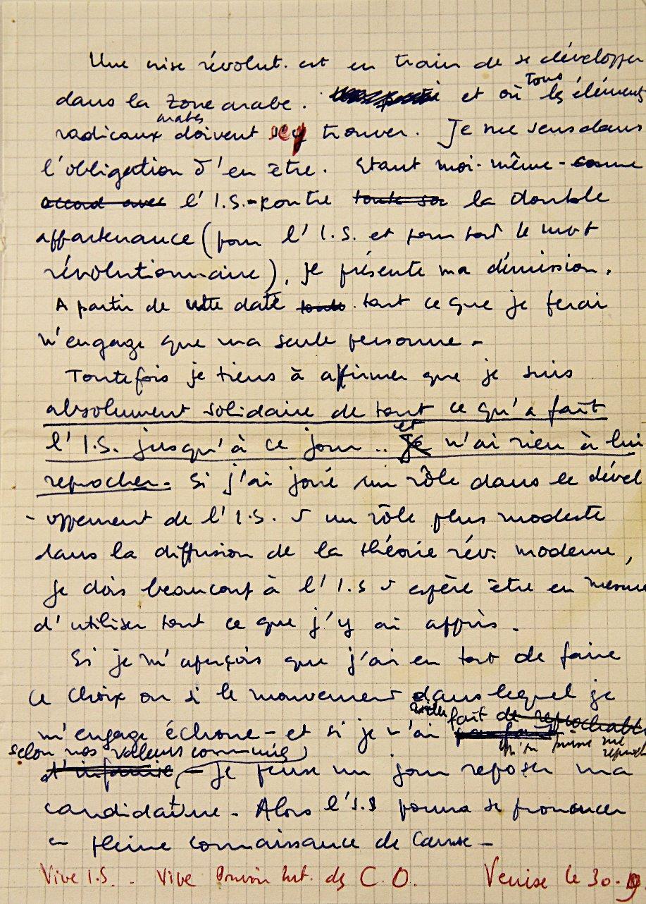 Khayati's Resignation Note, 09/1969