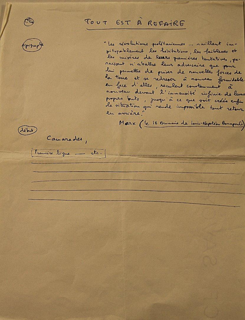 Manuscript Debord