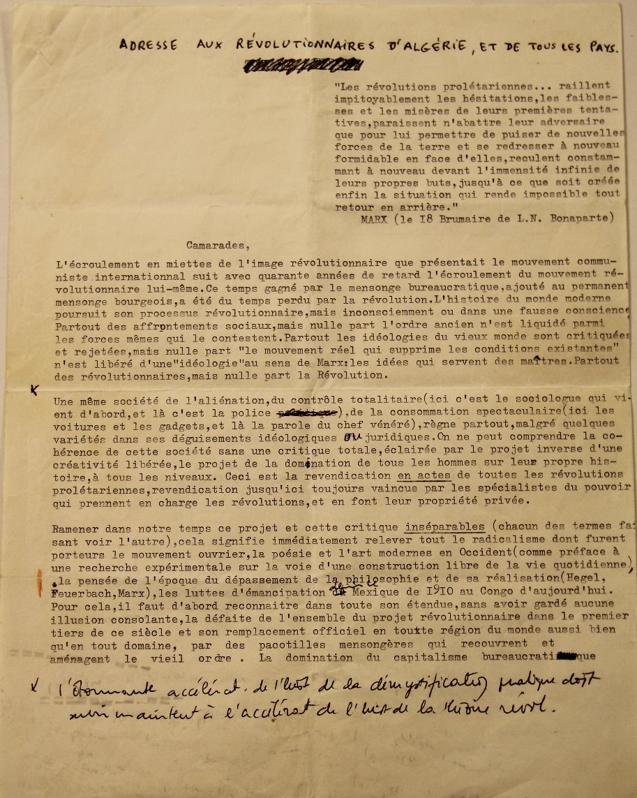 To the Algerian Revolutionaries