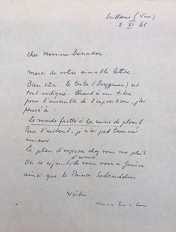 Letter from Max Ernst, 1965