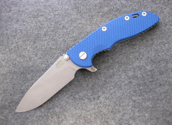 "Hinderer XM-18 3.5"" Skinny Slicer Working Finish w/ Blue G10 scale"