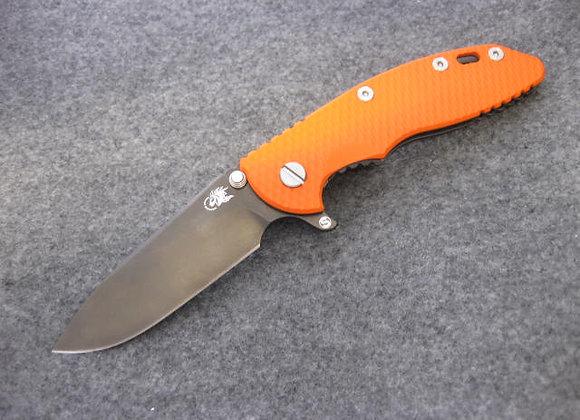 "Hinderer XM-18 3.5"" Skinny Slicer Stonewash Black DLC w/ Orange G10 scale"