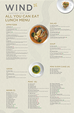 All you can eat lunch menu