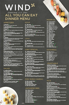 All you can eat dinner menu