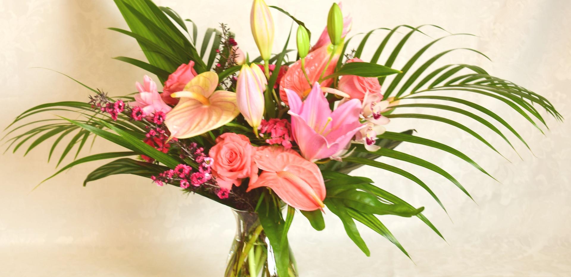 Medium tropical nouveau vase arrangement