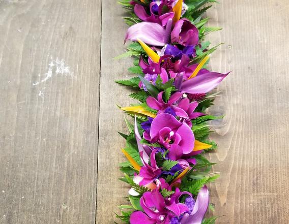 Purples and orange lei po'o