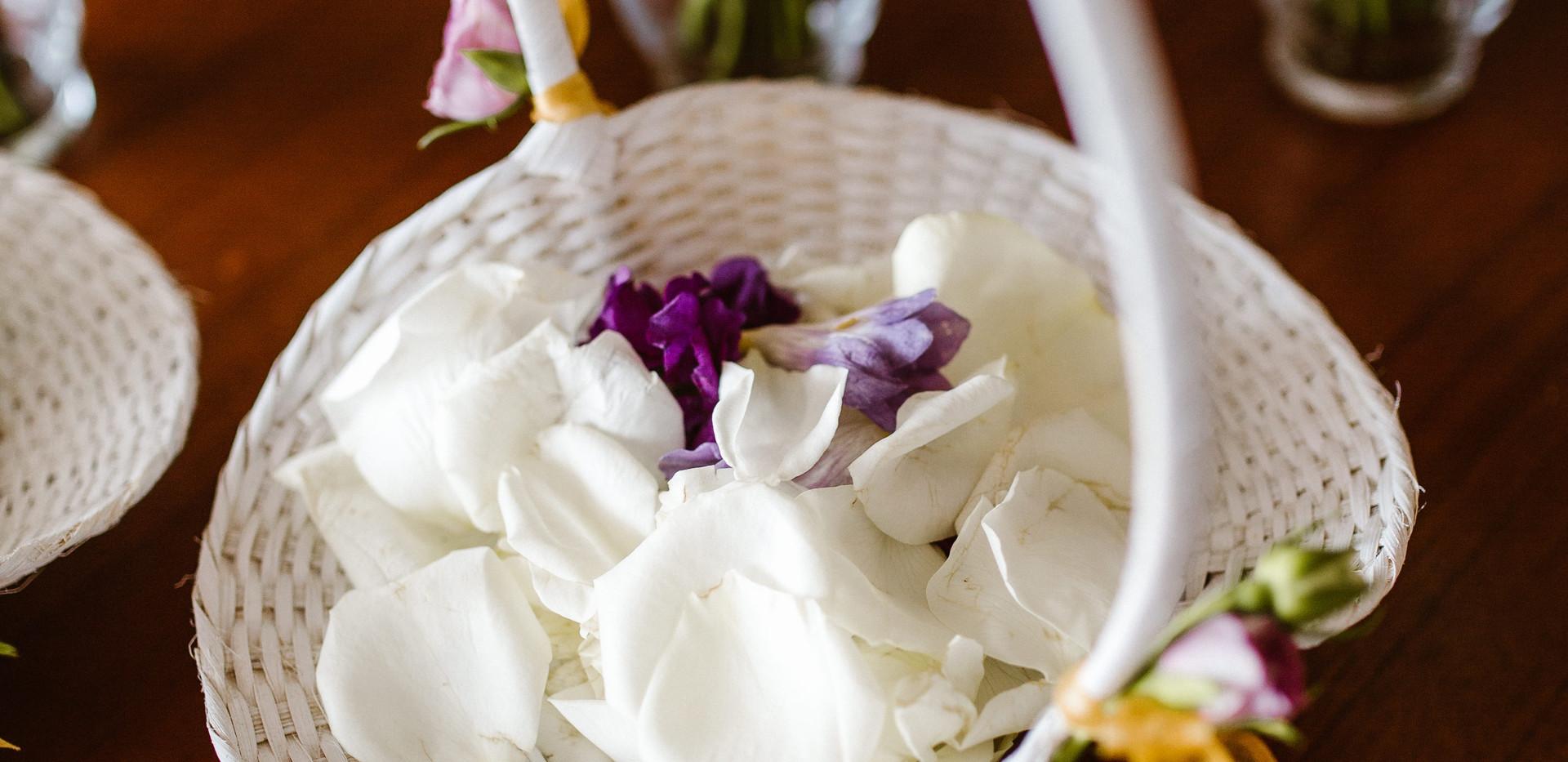 Flower girl basket and petals