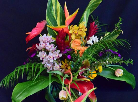 Large tropical vase arrangement