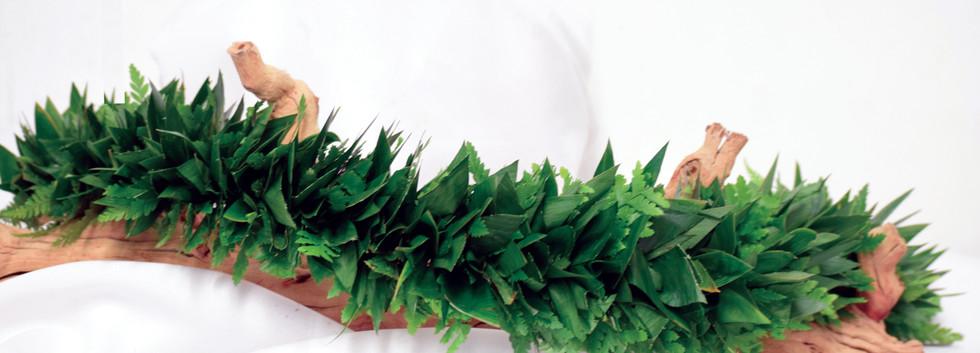 All foliage fern and ti leaf lei po`o