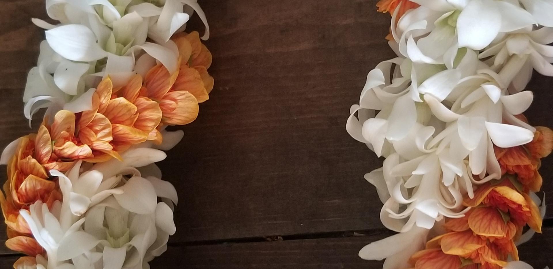 Triple twist orchid, tuberose and ilima lei
