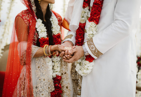 Bride and groom ceremonial lei