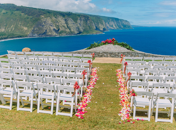 Chair decor and colorful scatter lining the aisle