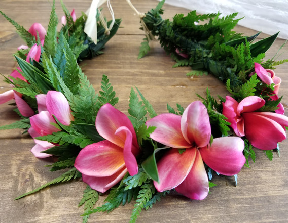 'Moana' style flower crown with palapalai and plumeria