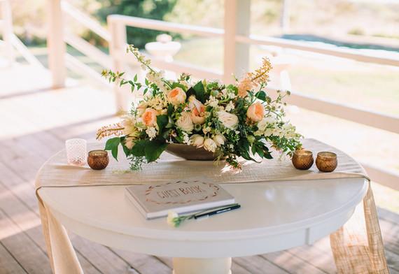 Guest book table arrangement