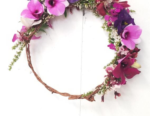 Shades of purple half flower crown