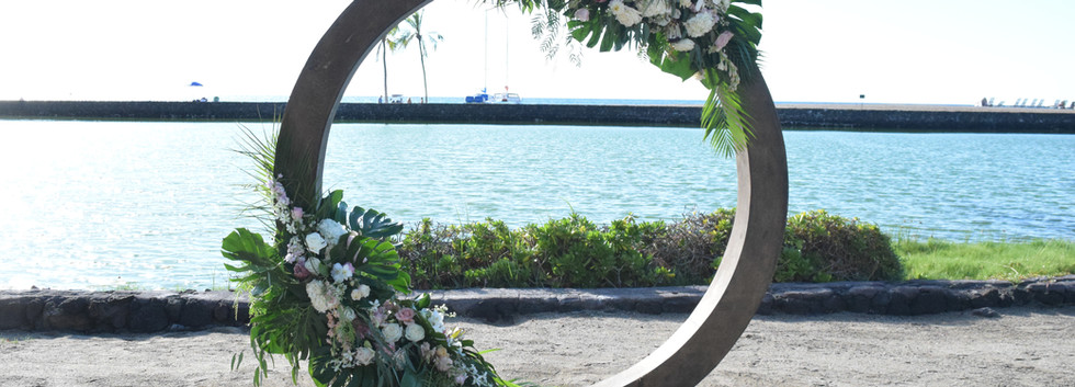 Circle arch partially covered Coordination: Blush weddings