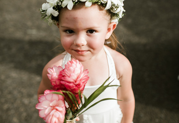 Flower girl crown and bouquet
