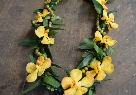 Double strand ti leaf with orchid tucks with palm seeds